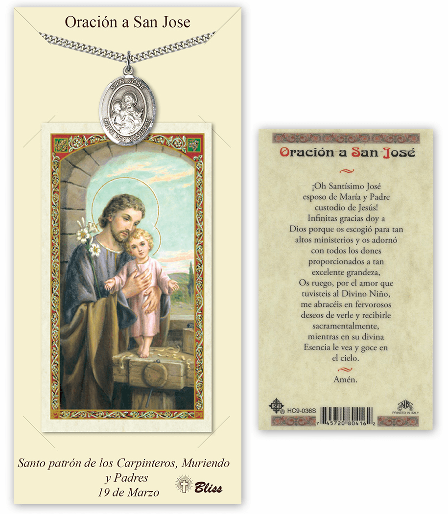 Bliss Spanish St Joseph Medal Necklace and Prayer Card Set