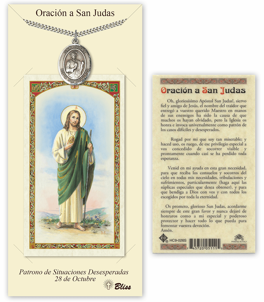 Bliss Spanish St Jude Medal Necklace and Prayer Card Set