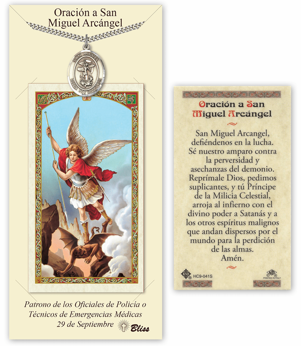 Bliss Spanish St Michael/San Miguel Medal Necklace and Prayer Card Set