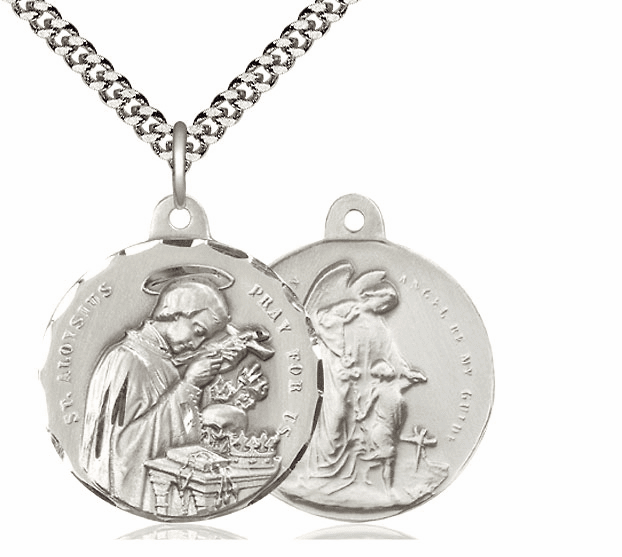 Bliss St Aloysius and Guardian Angel Sterling Medal Necklace