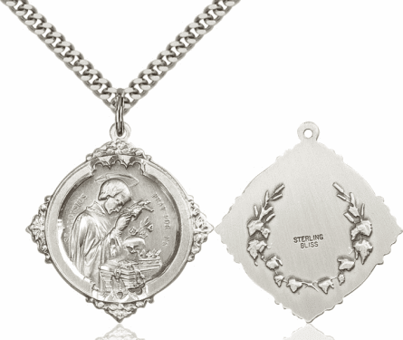 Bliss St Aloysius Sterling Silver Religious Medal Necklace