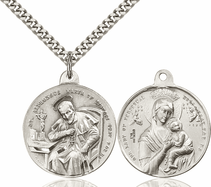 Bliss St Alphonsus and Our Lady Perpetual Help Sterling Silver Necklace