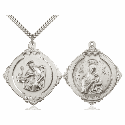 Bliss St Alphonsus w/Our Lady of Perpetual Help Medal Necklace