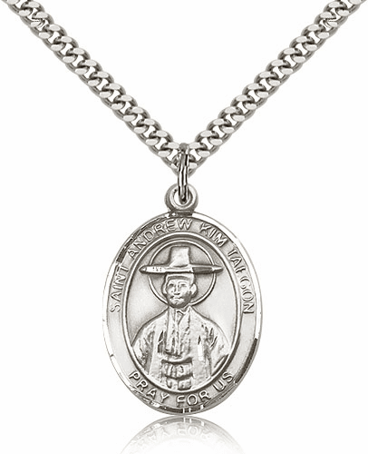 St Andrew of Kim Taegon Silver Saint Medal Necklace