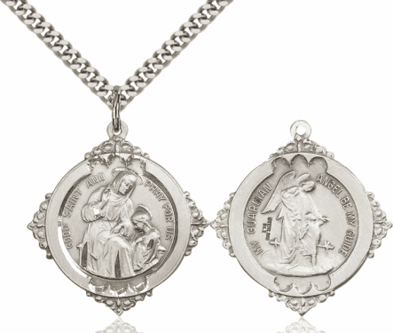 Bliss St Ann with a Guardian Angel Sterling Silver Religious Medal Necklace