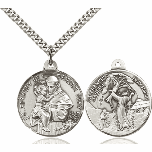 Bliss St Anthony and St Francis of Assisi Sterling Medal Necklace