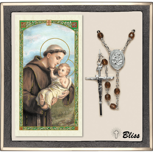Bliss St Anthony of Padua Silver Colorado Topaz Rosary and Prayer Card