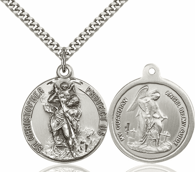Bliss St Christopher and Guardian Angel Sterling Medal Necklace