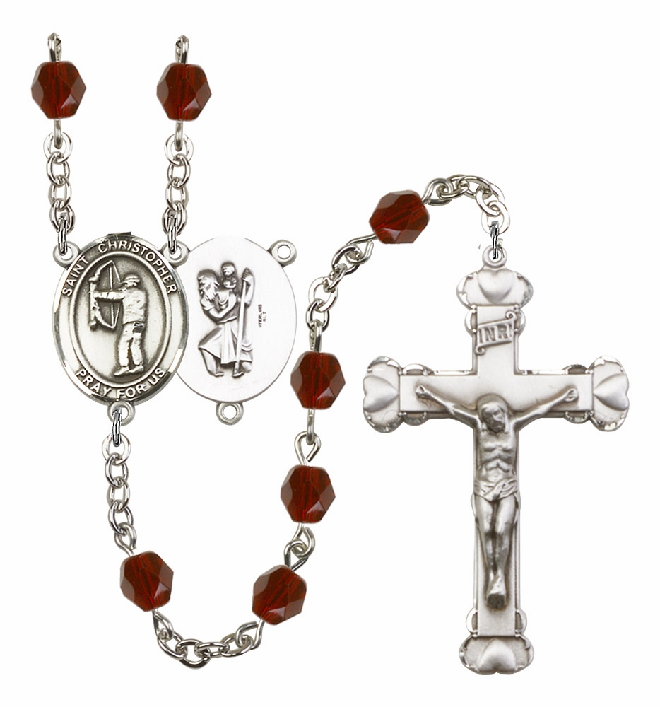 "Bliss St Christopher Archery Birthstone Crystal Rosary ""More Colors"""