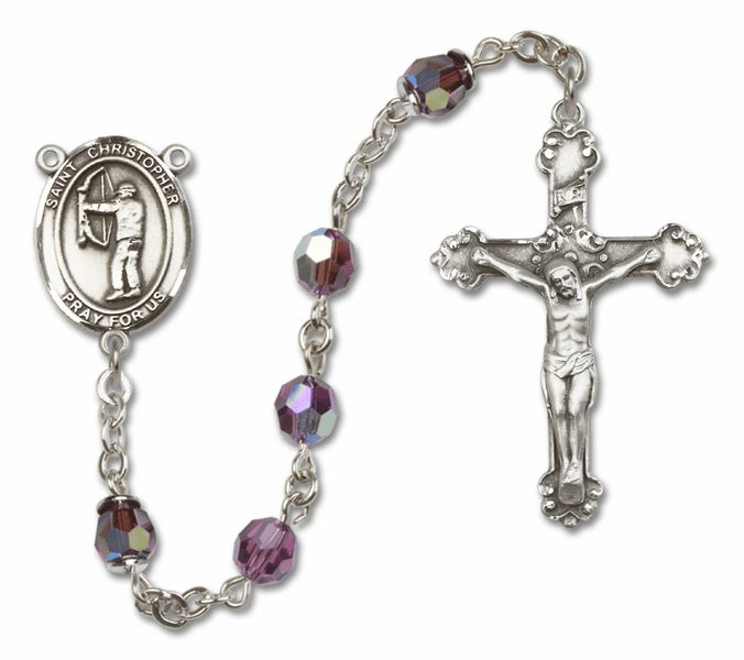 "Bliss St Christopher Archery Crystal Sterling, Gold-filled or 14kt Gold Rosaries ""More Options"""