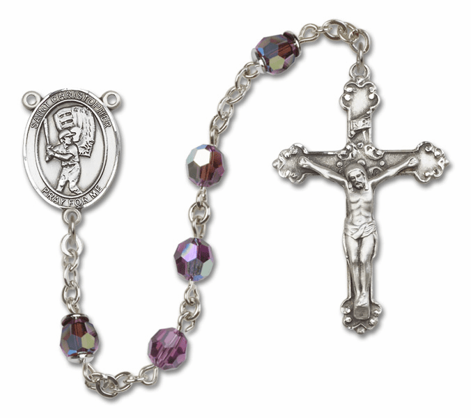 "Bliss St Christopher Baseball Crystal Crystal Sterling, Gold-filled or 14kt Gold Rosaries ""More Options"""