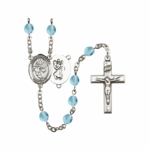 Bliss St Christopher Basketball Athlete Silver-Plated Birthstone Rosary