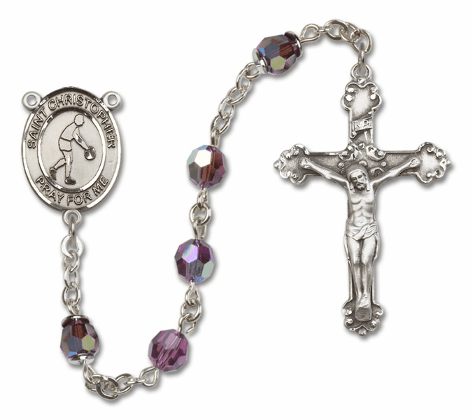 "Bliss St Christopher Basketball Crystal Crystal Sterling, Gold-filled or 14kt Gold Rosaries ""More Options"""