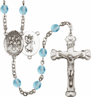 Bliss St Christopher Choir Athlete Silver-Plated Birthstone Rosary