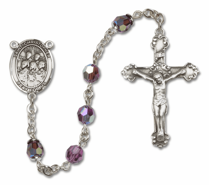 """Bliss St Christopher Choir Crystal Crystal Sterling, Gold-filled or 14kt Gold Rosaries """"More Options"""""""