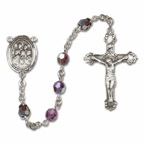 Bliss St Christopher Choir Swarovski Crystal Sterling and Gold Rosaries - More Colors