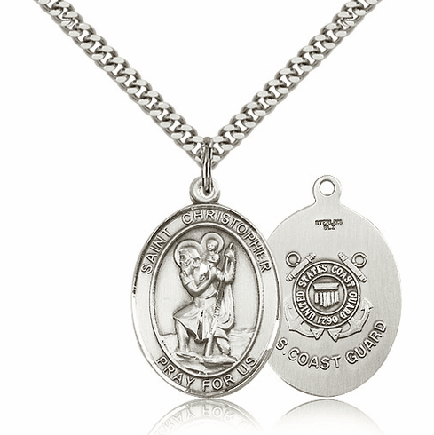Bliss St Christopher Coast Guard Silver-filled Patron Saint Medal Necklace