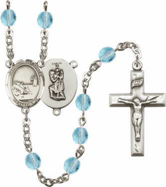 Bliss St Christopher Fishing Athlete Silver-Plated Birthstone Rosary