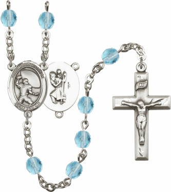 Bliss St Christopher Football Athlete Silver-Plated Birthstone Rosary
