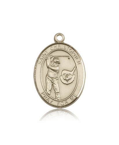 "Bliss St Christopher Golf 14kt Gold Sports Medal Pendant ""More Sizes"""