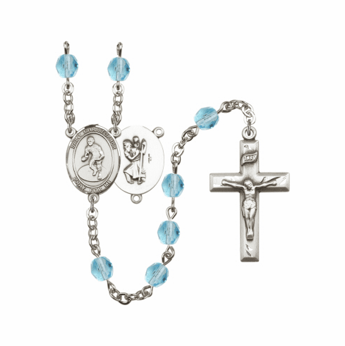 Bliss St Christopher Golf Athlete Silver-Plated Birthstone Rosary