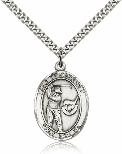 "Bliss St Christopher Golf Pewter Patron Saint Necklace ""More Sizes"""
