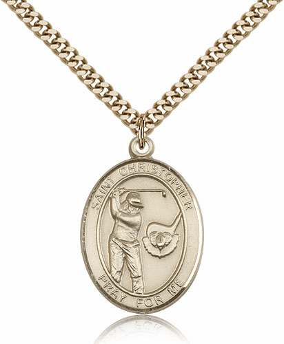 "Bliss St Christopher Golf Sports 14kt Gold-Filled Pendant Necklace ""More Sizes"""