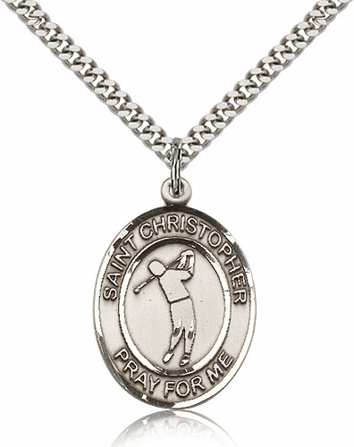 "Bliss St Christopher Golf Sports Sterling Silver Pendant Necklace ""More Sizes"""