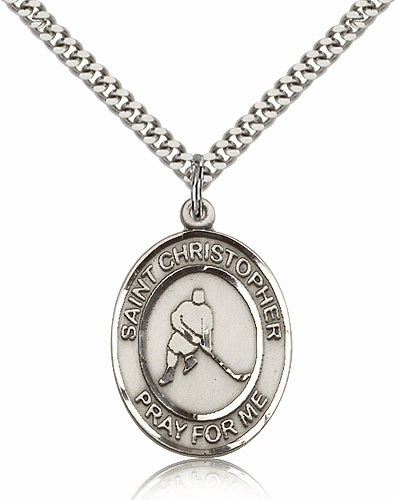 Bliss St Christopher Hockey Sport Medal Necklace