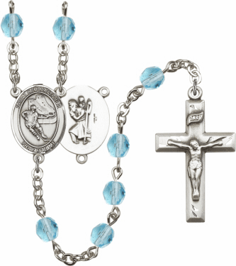 Bliss St Christopher Ice Hockey Athlete Silver-Plated Birthstone Rosary