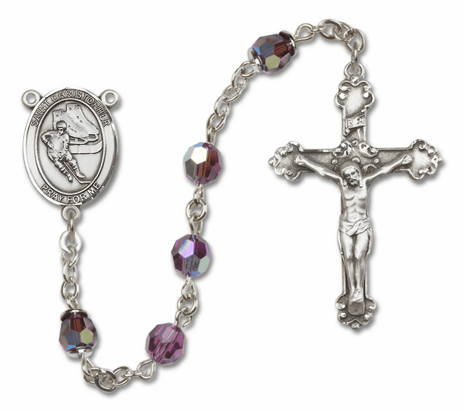 "Bliss St Christopher Ice Hockey Crystal Crystal Sterling, Gold-filled or 14kt Gold Rosaries ""More Options"""