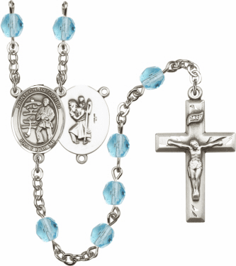 Bliss St Christopher Karate Athlete Silver-Plated Birthstone Rosary
