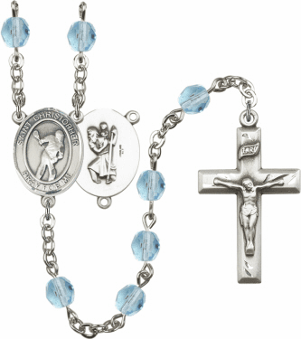 Bliss St Christopher Lacrosse Athlete Silver-Plated Birthstone Rosary