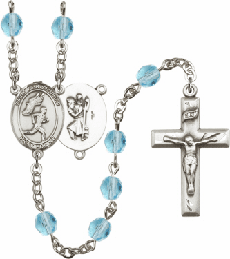 Bliss St Christopher Men Track and Field Athlete Silver-Plated Birthstone Rosary