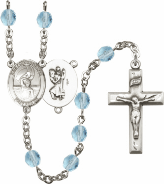 Bliss St Christopher Men Water Polo Athlete Silver-Plated Birthstone Rosary