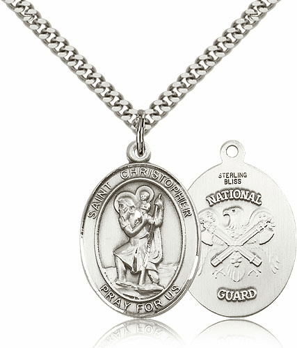 Bliss St Christopher National Guard Pewter Patron Saint Medal Necklace