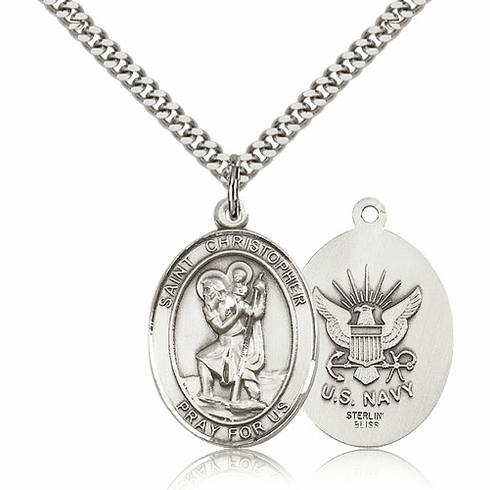 Bliss St Christopher Navy Silver-filled Patron Saint Medal Necklace