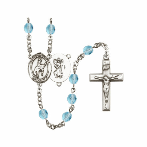 Bliss St Christopher Rodeo Athlete Birthstone Rosary  - More Colors