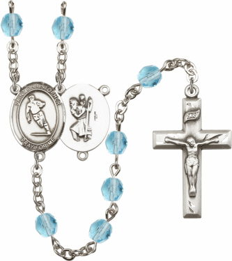Bliss St Christopher Rugby Athlete Silver-Plated Birthstone Rosary