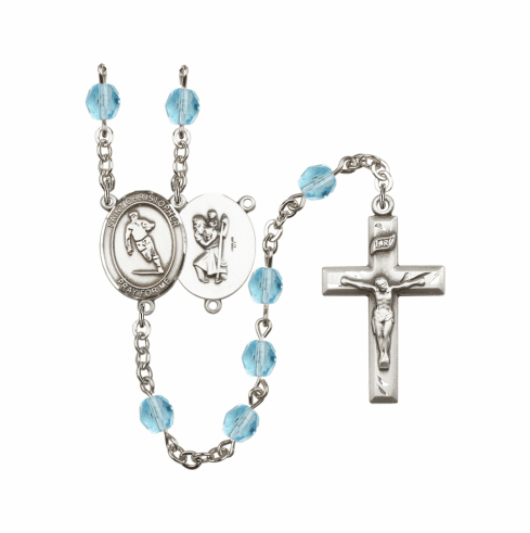 Bliss St Christopher Rugby Athlete Birthstone Rosary  - More Colors