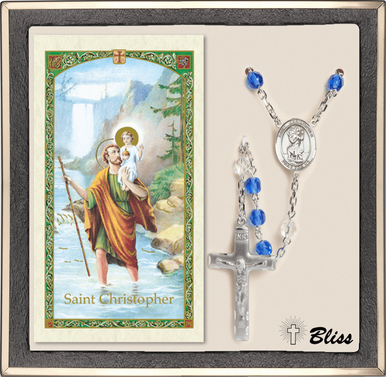 Bliss St Christopher Silver Sapphire Rosary and Prayer Card
