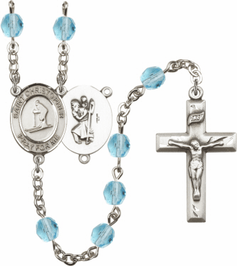 Bliss St Christopher Skiing Athlete Silver-Plated Birthstone Rosary