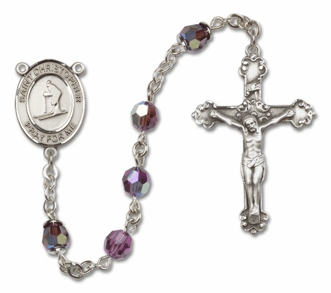 "Bliss St Christopher Skiing Crystal Crystal Sterling, Gold-filled or 14kt Gold Rosaries ""More Options"""