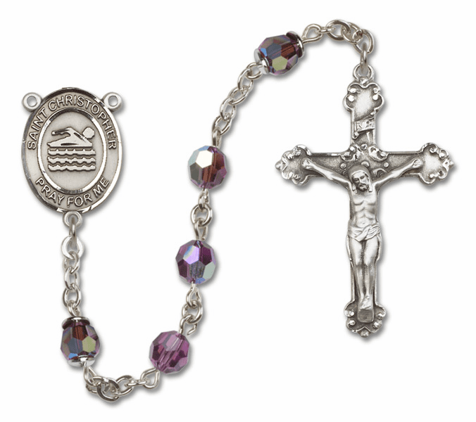 "Bliss St Christopher Swimming Crystal Crystal Sterling, Gold-filled or 14kt Gold Rosaries ""More Options"""