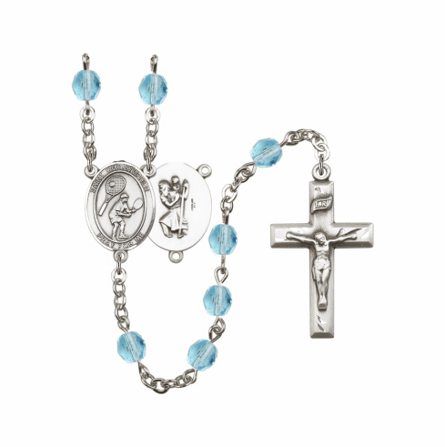 Bliss St Christopher Tennis Athlete Silver-Plated Birthstone Rosary