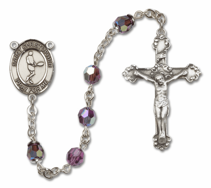 "Bliss St Christopher Tennis Crystal Crystal Sterling, Gold-filled or 14kt Gold Rosaries ""More Options"""