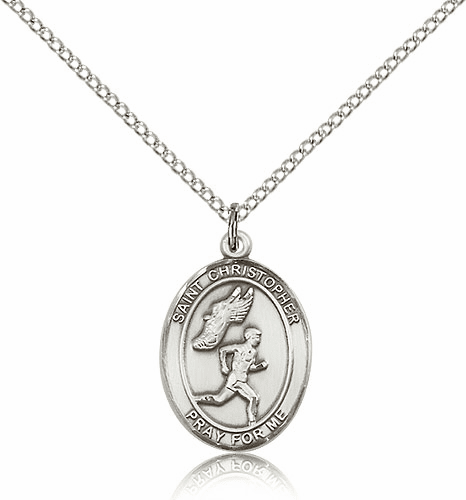 Bliss St. Christopher Track & Field Sterling Silver Medal Necklace