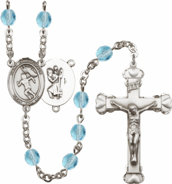 Bliss St Christopher Women Track and Field Athlete Silver-Plated Birthstone Rosary