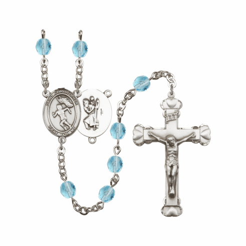Bliss St Christopher Women Track and Field Athlete Birthstone Rosary