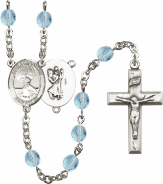 Bliss St Christopher Women Water Polo Athlete Silver-Plated Birthstone Rosary